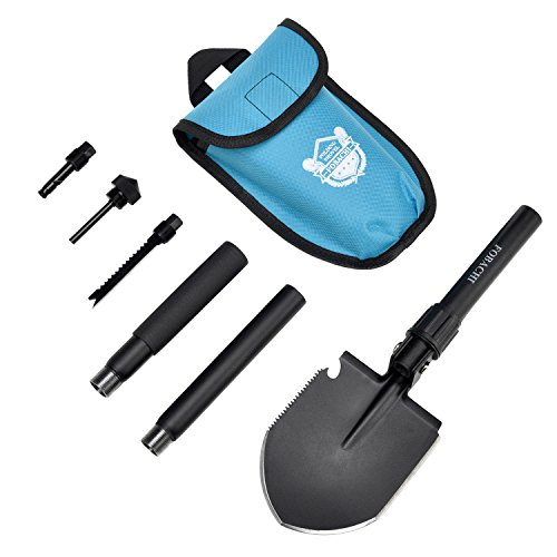 FOBACHI Military Survival Folding Shovel and Pick with Carrying Pouch for Camping, Hiking, Backpacking, Fishing, Tactical Army Surplus Multitool, Trench Entrenching Tool, Car Emergency Shovel