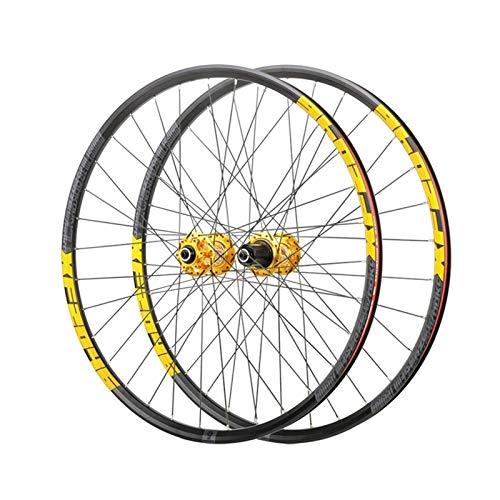 TYXTYX Ejes de liberación rápida Accesorio para Bicicleta Rueda de MTB 26'27.5' 29'Juego de Ruedas de Bicicleta de montaña Llanta de Doble Pared QR Buje de Freno de Disco para Casete de 8-12 Velo