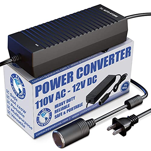 P.I. AUTO STORE Premium 110V / 120V AC - 12V DC Power Converter/Adapter/Transformer 10 Amp. FCC & CE Approved use with 12V Max 10 amp Cigarette Lighter Accessories