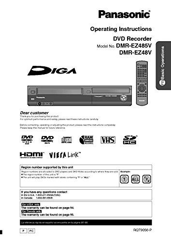 Panasonic DMR-EZ48V DMR-EX485V DVD Recorder Owners Instruction Manual Reprint [Plastic Comb] Every Instruction Manual