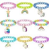 9 Pezzi Colorato Braccialetto di Unicorno da Ragazze Braccialetto Gioielli di Unicorno Bracciale con Perline Unicorno Arcobaleno per Bomboniere di Feste di Compleanno (Stile Cristallo)