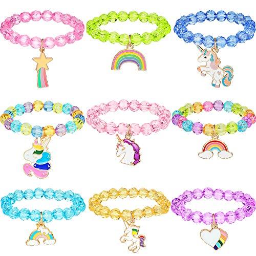 9 Stück Bunte Einhorn Armband Mädchen Einhorn Armbänder Regenbogen Einhorn Perlen Armband für Geburtstagsfeier Gefälligkeiten (Kristall Stil)
