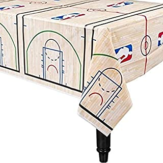 """Amscan 573636 Spalding Basketball Collection Printed Plastic Table Cover for Party 54"""" x 102"""" 1 ct"""
