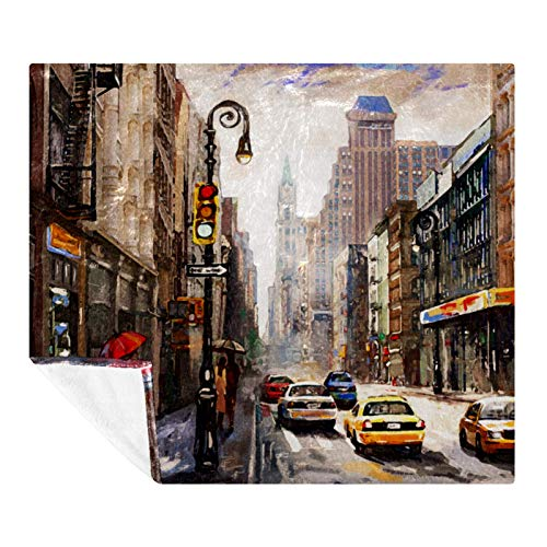 AMEILI Couverture/couvre-lit super doux et chaud en peluche, couverture légère et confortable pour canapé, lit (127 x 152,4 cm) Aquarelle City Street