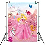 Sleeping Beauty Backdrop for Birthday Party 5x7 Pink Flower Princess Aurora Baby Shower Background for Girl Sleeping Beauty Castle Backdrops Happy Birthday Tabletop Banner