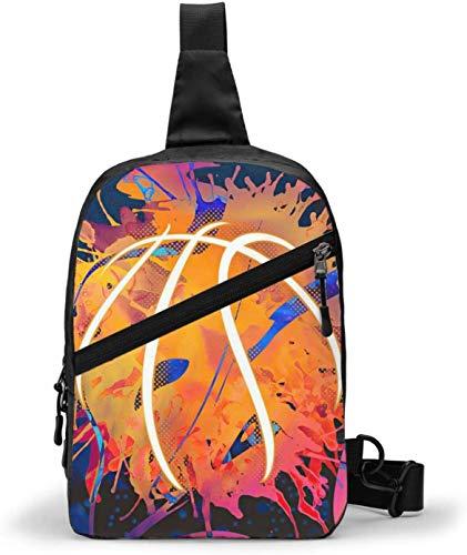 Basketball Spritzer Aquarell-Schultertasche Crossbody Schulter Brust Outdoor Wandern Reisen Persönliche Tasche für Damen Herren Wasserdicht