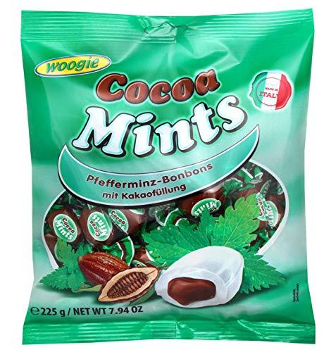 Woogie Cocoa Mints 1 x 225g Pfefferminz Bonbons mit Kakaofüllung