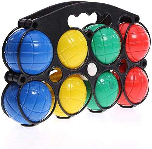 KandyToys 8 Piece Boules Set Colourful Garden Games Pentanque Set in Carry Case