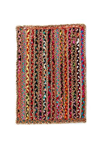 Alfombra de Yute rectangular Multicolor Mexi, alfombra natural de fibra de yute y algodón tejida a mano con fundamentos de comercio justo - Alfombra de salón, dormitorio, pasillos, exterior (60, 40)