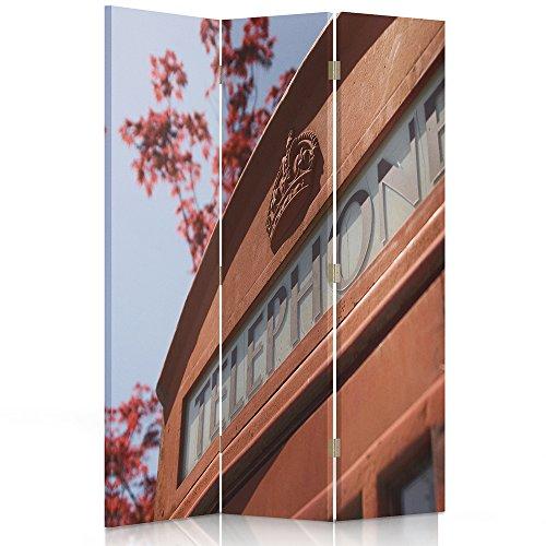 Feeby Frames. Roomdivider, gedrukt op canvas, linnen wandscherm, decoratieve scheidingswand, mobiele telefoon, telefoon, schuur, Londen, kroon 2-seitiger 110x150 cm 110 x 150 cm, 2-zijdig.
