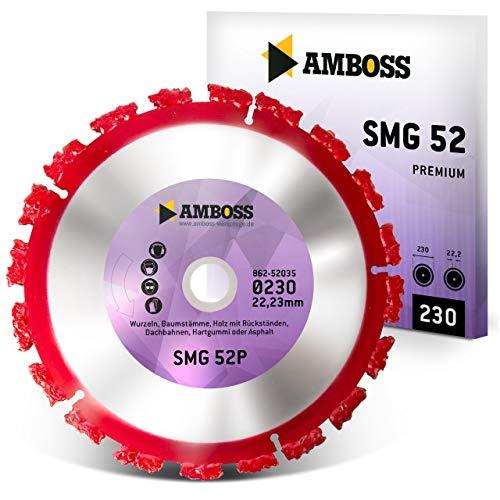 Amboss SMG 52P - Trennscheibe - Wurzeln/Baumstämme/Holz mit Rückständen/Dachbahnen/Hartgummi/Asphalt | Segmente aus Wolframkarbid (Ø 230 mm x 22,2 mm)