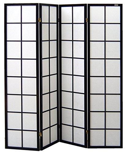cinius Paravent - Raumteiler - Holz Trennwand Shoji in Natur Reispapier weiß mit 4 Stuecken. Modell Yoko Schwarz Farbe