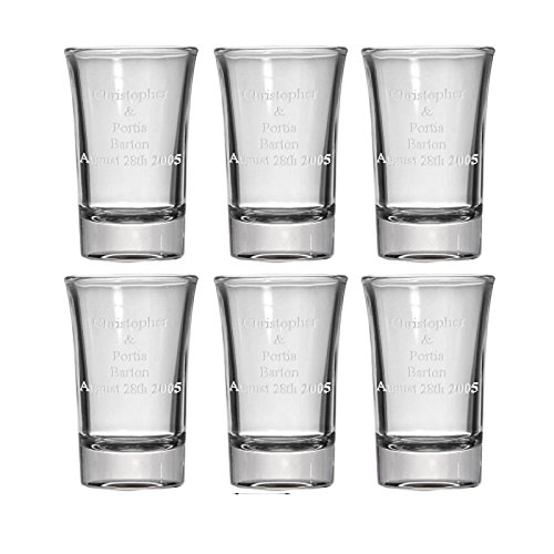 Personalized Laser-Etched Engraving Shot Glasses - Set of 6 - 1.5 oz. - Your Choice of 12 Fonts - Wedding - Birthday - Anniversary - Graduation