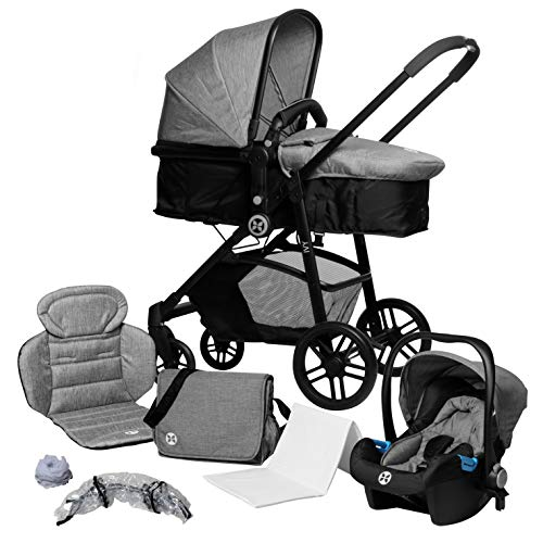 Kombikinderwagen 3 in 1, Kinderwagen-Set inkl. Wanne und Babyschale (Auto), Babyblume IVY, melange