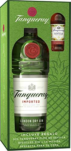Tanqueray - London Dry Gin Ginebra inglesa, Pack con miniatura de Tanqueray Flor de Sevilla de regalo, 70 cl