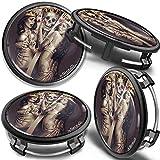 SkinoEu 4 x 75mm Tapas de Rueda de Centro Centrales Llantas Aluminio Compatibles con Tapacubos Mercedes Benz B66470207 / B66470200 Negro Cráneo Cartas de Póquer CM 23