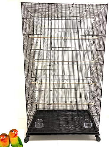Mcage Extra Large Pet Products Flight Bird Aviary Budgie Canary Finch Breeding Cage with Rolling Stand (Black)