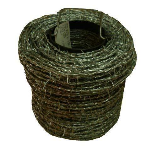 Fil de fer barbelé galvanisé de 200 m I 1,6 / 1,7 mm pour clôtures sauvages, clôtures forestières, nœuds tissés, espacement de 10 cm entre les pointes, fil de lame I 2 fils / 4 pointes
