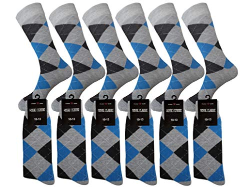 MENS ARGYLE MATCHING DRESS SOCKS SETS GROOMSMEN WEDDING PARTY SOCKS COTTON BLEND 12-PAIRS ROYAL CLASSIC 10-13 (BLUE & GREY)