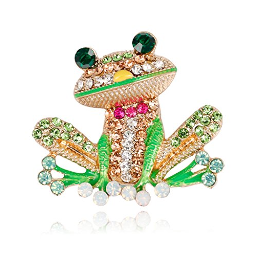 Mimgo Frog Brooch Pins for Women Men, Enamel Rhinestone Colorful
