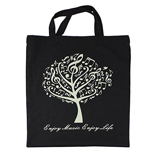 mugesh Baumwoll-Tragetasche Musikbaum schwarz - Schönes Geschenk für Musiker