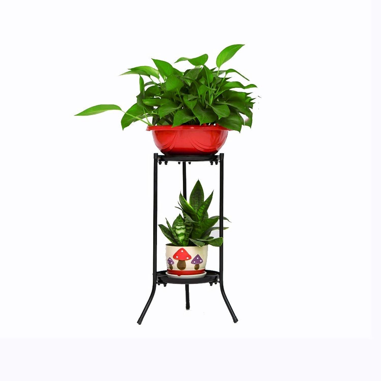 WAN SAN QIAN- Metal Flower Frame Multi-Layer Thickening Floor-Standing Flower Pot Rack European Balcony Living Room Plant Shelf Flower racks (color   Black, Size   30  50cm)