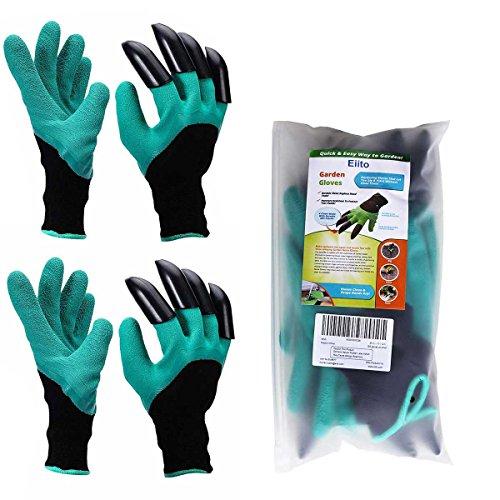 Garten Handschuhe (2 Paar), Eiito pflanz-und arbeitshandschuhe garten gartenarbeit handschuhe mit graben klauen, garten gloves gartenhandschuhe - L-XL-XXL (7.5-9 EU)