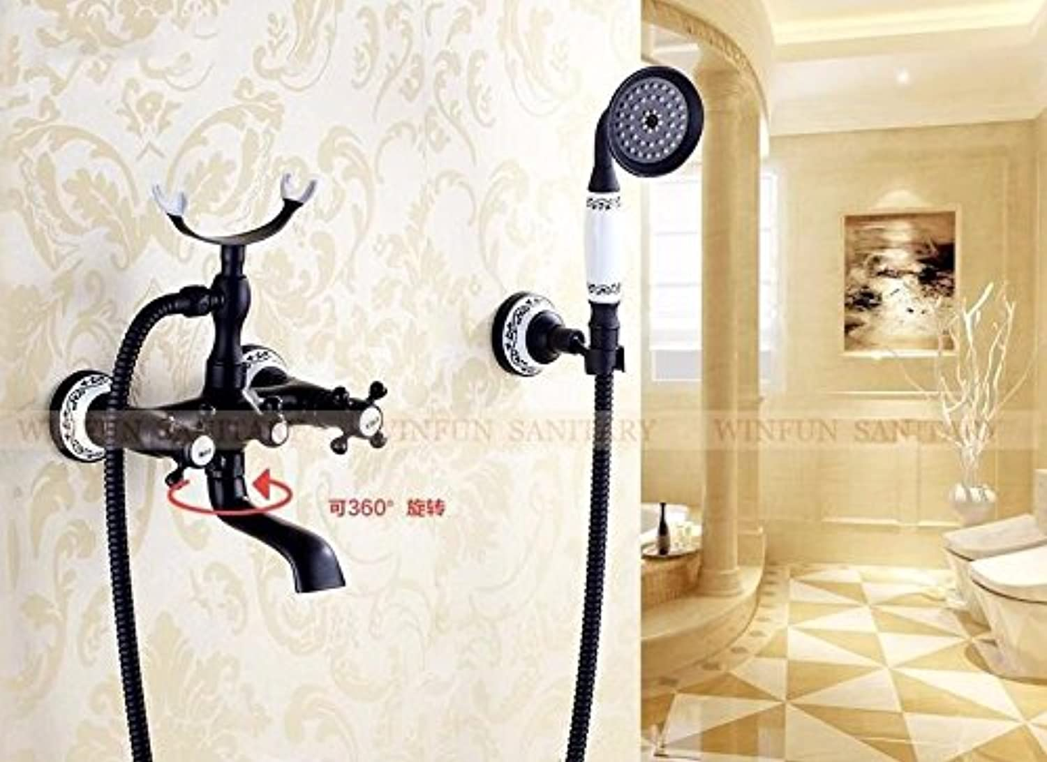 Mangeoo Black Painted Brass Shower Faucets Dual Handle Wall Mounted Bath And Shower Faucet With Handheld Showers