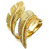 MunkiMix Acero Inoxidable Anillo Ring Oro Dorado Tono Pluma Feather Talla Tamaño 15 Hombre,Mujer