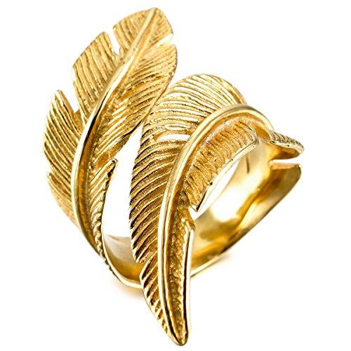 MunkiMix Acero Inoxidable Anillo Ring Oro Dorado Tono Pluma Feather Talla Tamaño 17 Hombre,Mujer