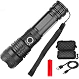 WPF ZJH LED Flashlight 3000 Lumens, USB Rechargeable Flashlight, 5 Modes, Zoomable, Waterproof