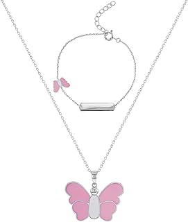 "925 Sterling Silver White Pink Enamel Necklace & Bracelet Jewelry Set for Girls 16"""