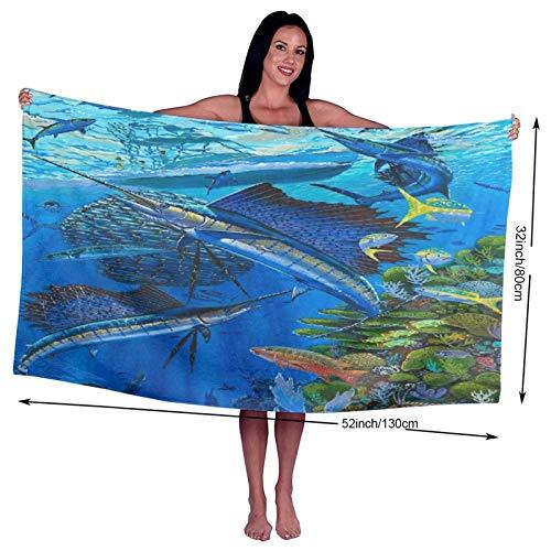 Toalla de baño, Sailfish Reef, 100% Toallas de Fibra extrafina de Secado rápido Altamente Absorbente para Uso Diario, baño, SPA, 80 cm x 130 cm