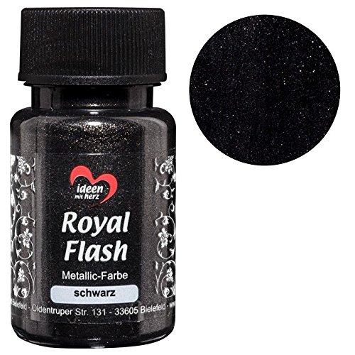 Royal Flash, Acryl-Farbe, metallic, mit feinsten Glitzerpartikeln, 50 ml (schwarz)