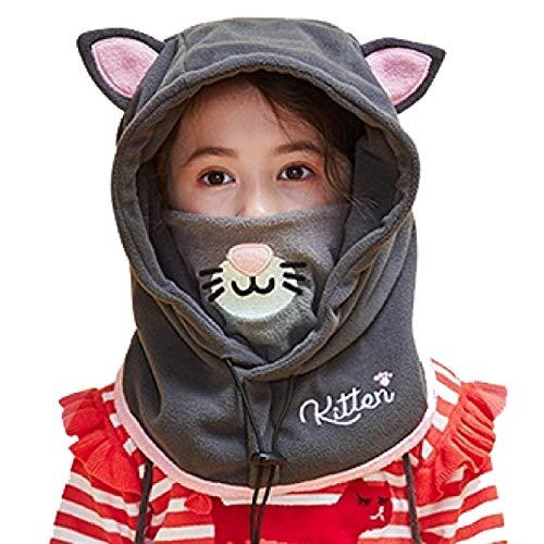 Azarxis Kinder Sturmhaube Thermische Balaclava Winddichte Skimaske Gesichtsmaske für Outdoor Jungen Mädchen (Grau - Katze)