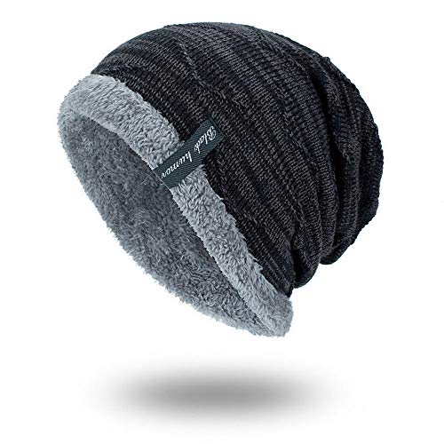 Sinma Unisex Winter Warm Thick Knit Beanie Cap Casual Hedging Head Hat (Black)