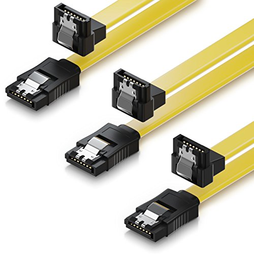 deleyCON 3X 50cm SATA III Kabel S-ATA 3 Datenkabel 6 GBit/s Verbindungskabel Anschlusskabel für HDD SSD - Metall-Clip - 1x Gerade 1x 90° L-Type Stecker - Gelb