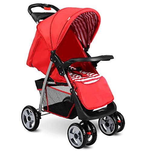 Costzon Baby Stroller, Foldable Infant Pushchair with 5-Point Safety Harness, Multi-Position Reclining Seat, Parent and Child Tray, Large Storage Basket, Suspension Wheels, Red