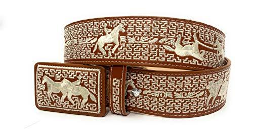 Men's Western Embroiderer Cowboy Rodeo Belt, Cinto Charro Bordado Cinto Suertes Charras Vaquero Plateado (34, Natural)