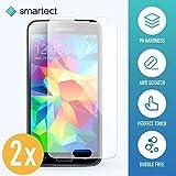smartect Panzerglas kompatibel mit Samsung Galaxy S5 / S5 NEO [2 Stück] - Bildschirmschutz mit 9H Festigkeit - Blasenfreie Schutzfolie - Anti Fingerprint Panzerglasfolie