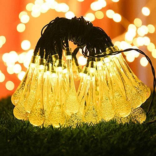 LDTSWES Luces de Cadena de Gota de Agua al Aire Libre de energía Solar en el jardín y Decoraciones Festivas-Gotas de Agua_5M 20 Luces Blanco cálido-Gotas_32_Meters_300_Lights_Warm_White