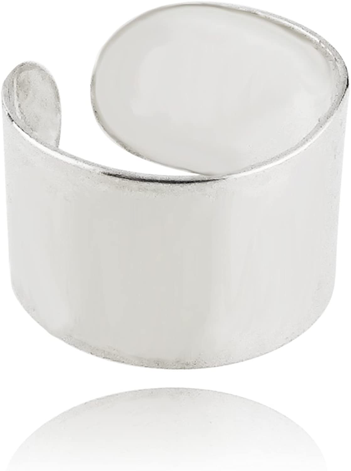 Polished Sterling Latest item Silver Adjustable 7mm Direct stock discount Ear Cuff Wrap Band Wide