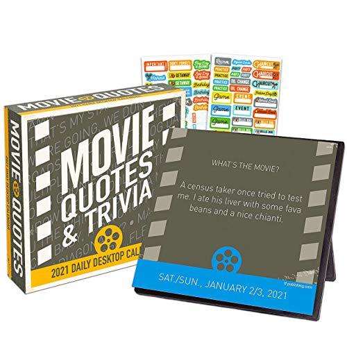 Movie Trivia 2021 Calendar, Box Edition Bundle - Deluxe 2021 Movie Trivia Day-at-a-Time Box Calendar with Over 100 Calendar Stickers