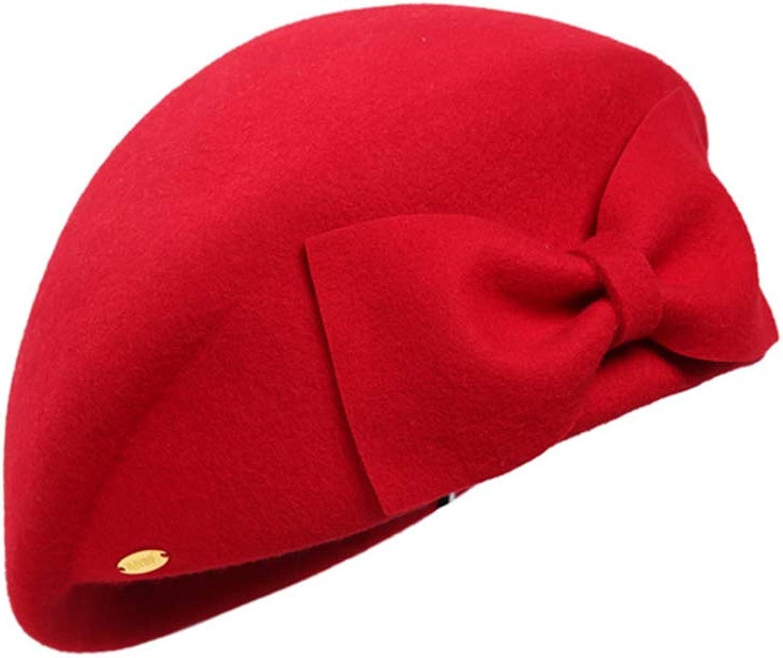 Women's Bow Decoration Beret Painter Hat Casual Winter Hat