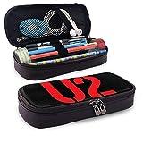 U-2 - Estuche para lápices de gran capacidad, bolsa de maquillaje para bolígrafos de maquillaje y artículos de papelería para estudiantes con doble cremallera para la oficina de la escuela