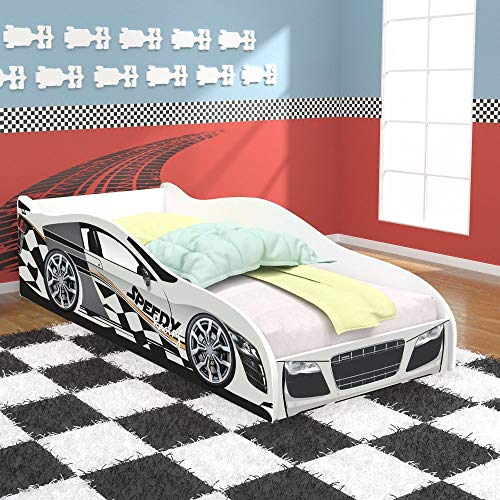 Cama Solteiro -Cama Carro Speedy Racing New - Branco - RPM Moveis
