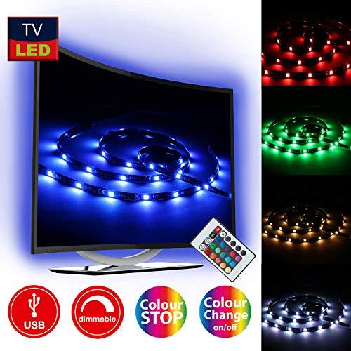 Briloner Leuchten -  LED TV Beleuchtung, LED Band Dimmbar, Selbstklebend, 2m, USB-Anschluss, geeignet für 32-78 Zoll, Licht-Leiste 48 x RGB-LED Farbwechsel, Lichterkette
