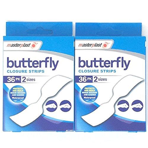 Masterplast Schmetterling-Pflaster, wasserdichte Pflaster, 2 Packungen, 72 Pflaster