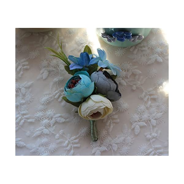 MOJUN Artificial Peony Buds Flower Groom Boutonniere for Wedding Party Prom Homecoming