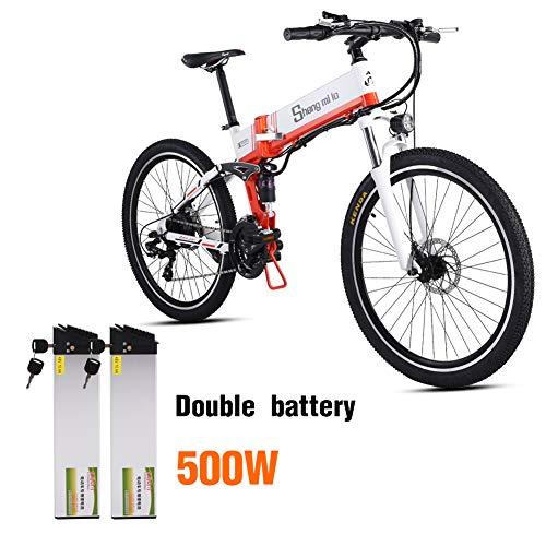Shengmilo e Bike Elektrofahrrad 26 Zoll e-Bike Mountainbike Klappbar Electric Fahrrad ebike Herren Damen 250/350W/500W Moto 48V Lithium Batterie Shimano 21 Gang Doppelte Hydraulische Scheibenbremse